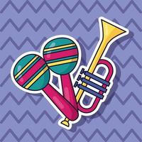 Cute music design with pop icons vector