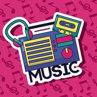 lindo diseño de música con iconos pop vector