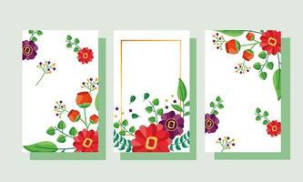 guardar la fecha floral conjunto de tarjetas de boda