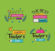 feliz día del maestro conjunto de diseño de celebración