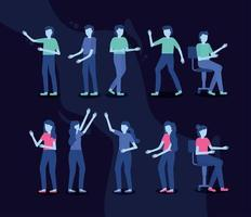 People in different poses icon set vector