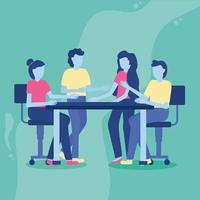 Co-working concept with people in a meeting vector