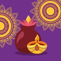 cartel del festival de diwali feliz diseño plano vector