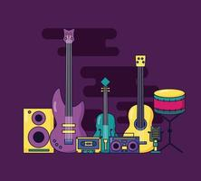 Cute music festival design with pop icons vector