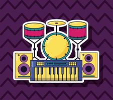 synth, drums, and speakers for music colorful background vector
