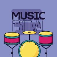 lindo diseño de festival de música con iconos pop
