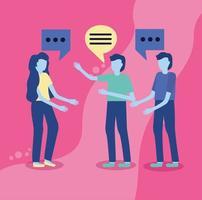 gente hablando con burbujas de discurso
