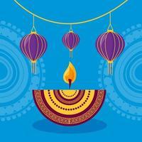 cartel del festival de diwali feliz diseño plano