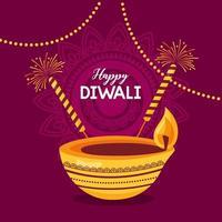 happy diwali festival poster flat design vector