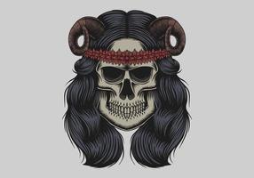Ilustración de vector de chica de demonio de cráneo