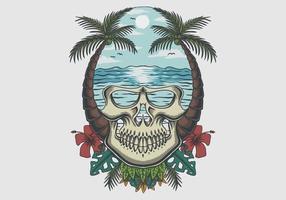 Skull beach tropical vector illustration