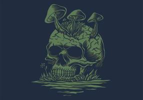 Skull mushrooms in river vector illustration
