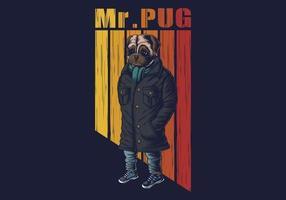 Ilustración de vector de moda de perro pug