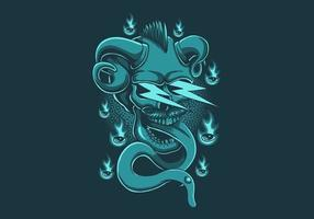 Skull demon thunder vector illustration