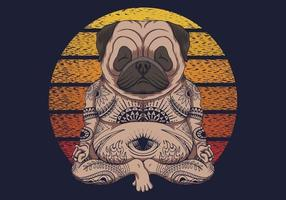 Yoga Pug dog sunset retro vector illustration