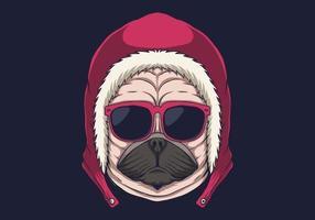 Ilustración de vector de anteojos de cabeza de perro pug