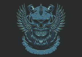 Skull wing motorcycles club vector illustration