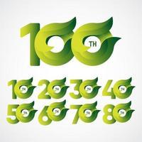 Celebraciones del 100 aniversario ilustración de diseño de plantilla de vector degradado verde