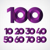 Ilustración de diseño de plantilla de vector púrpura de celebraciones de aniversario de 100 años