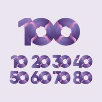 Ilustración de diseño de plantilla de vector de celebraciones de aniversario de 100 años