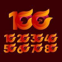 Celebraciones del 100 aniversario ilustración de diseño de plantilla de vector naranja
