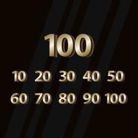 Ilustración de diseño de plantilla de vector de número elegante de oro de aniversario de 100 años