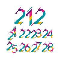 números de año de aniversario, conjunto a todo color