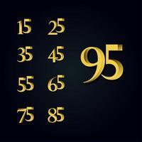 Ilustración de diseño de plantilla de vector de número de oro de aniversario de 95 años