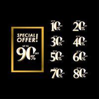 Oferta especial de descuento hasta el 90 por ciento de la ilustración de diseño de plantilla de vector de etiqueta