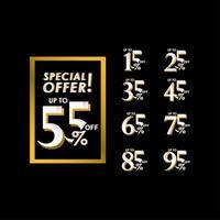 Oferta especial de descuento de hasta 55 por ciento ilustración de diseño de plantilla de vector de etiqueta