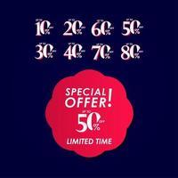 Oferta especial de descuento hasta 50 por ciento por tiempo limitado etiqueta vector plantilla diseño ilustración