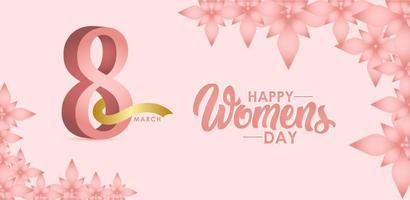 Feliz celebración del día de la mujer 8 de marzo ilustración de diseño de plantilla de vector