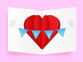 corazón de amor tarjeta de felicitación de San Valentín, artesanía de papel con forma de corazón y bandera con cartas de amor vector