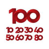 Ilustración de diseño de plantilla de vector rojo de celebración de aniversario de 100 años