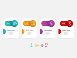 Infografía horizontal abstracta 4 pasos para negocios y presentación.