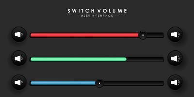 interfaz de usuario de barra deslizante de volumen o sonido creativo vector