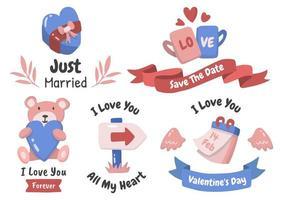 San Valentín etiqueta vector logo conjunto