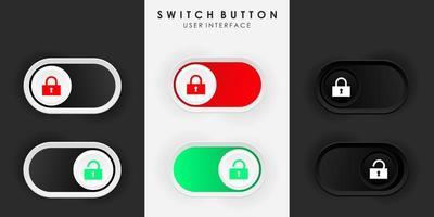 Desbloqueo de bloqueo de botón de interruptor minimalista en diseño de neumorfismo. sencillo, moderno y elegante. interfaz de usuario 3d suave y suave. modo claro y modo oscuro. para el diseño de sitios web o aplicaciones. ilustración vectorial.