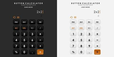 Minimalist Switch Button Calculator in Neumorphism Design. Simple, modern and elegant. vector