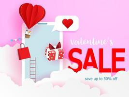 happy valentine's sale, online shopping with mobile phone paper art vector