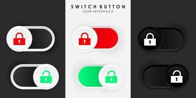 Minimalist Switch Button Lock Unlock in Neumorphism Design. Simple, modern and elegant. Smooth and soft 3D user interface. Light mode and Dark Mode. For website or apps design. Vector Illustration.