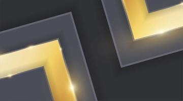 Triángulo abstracto dorado sobre diseño de metal gris oscuro Ilustración de vector de fondo futurista moderno.