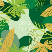 Seamless pattern with green leaves and a light background. Decorative ornament. design vector illustration.