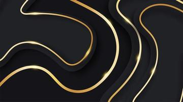 Abstract wave vector fluid and shiny gold lines on dark blue background