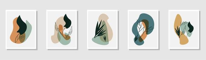 Set of botanical wall art vectors. Drawing of foliage line art with abstract shapes. Vector illustration.