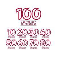 Ilustración de diseño de plantilla de vector de texto de número de celebración de aniversario de 100 años