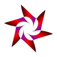 símbolo de estrella geométrica sombreada en color rojo púrpura