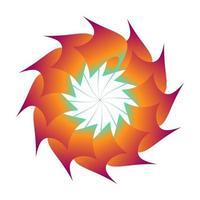 diseño circular de vector de flor de otoño en color naranja