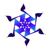 hermoso símbolo de la estrella de nieve en color azul