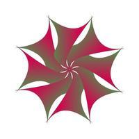logotipo de flor de transición fractal circular envuelto en verde púrpura